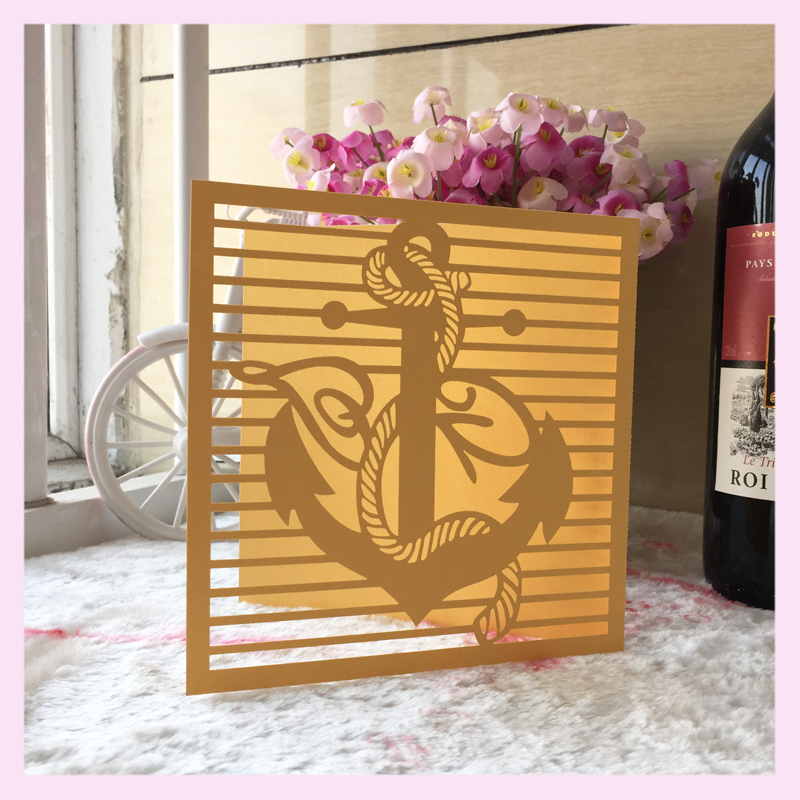 50pcs Free Fast Shipping Seaman Design Laser Cut Wedding Invitation Card  Ocean Style Various Colors Top