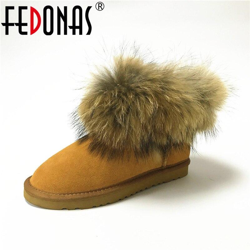 FEDONAS Tobillo de Las Mujeres Botas de piel de Zorro Verdadero Invierno Nieve Botas de Cuero Genuino de La Manera de Las Mujeres Guardan Los Zapatos Calientes Del Invierno botas