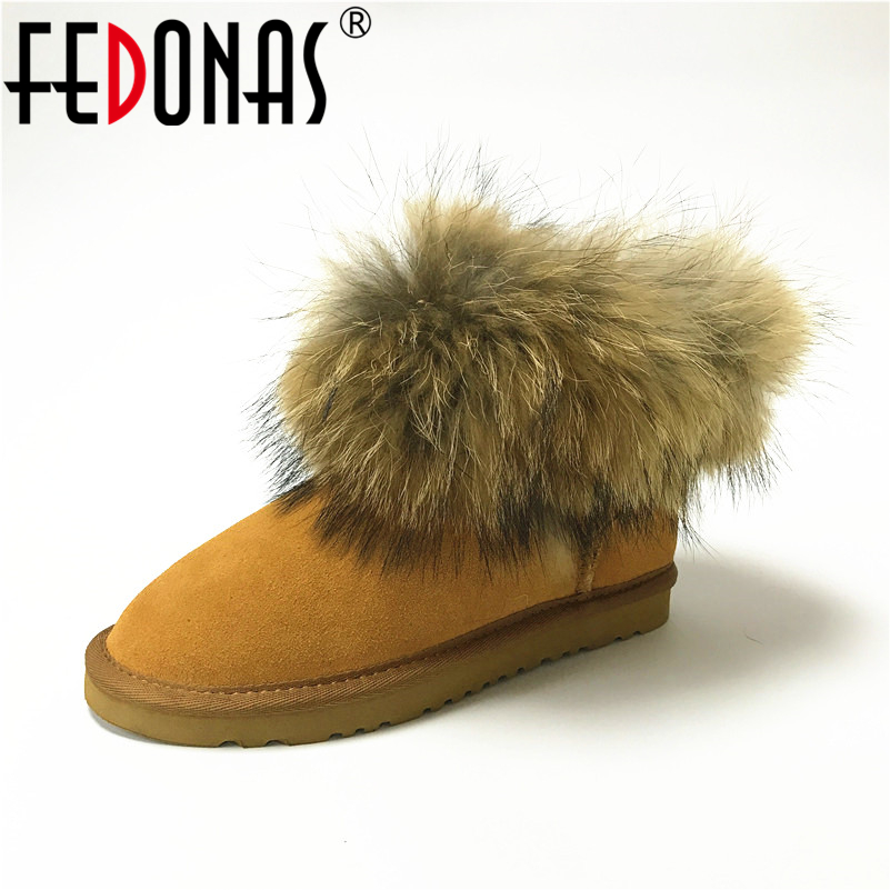 цена на FEDONAS Women Ankle Boots Fashion Winter Real Fox Fur Genuine Leather Snow Boots Women's Shoes Keep Warm Winter Shoes Boots