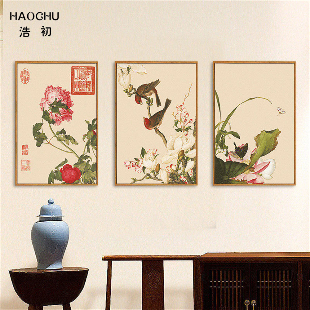 HAOCHU New Chinese Style Birds And Flowers Murals WALL ART Canvas Painting Wall Painting Poster Decorations For Home STUDY Cafe
