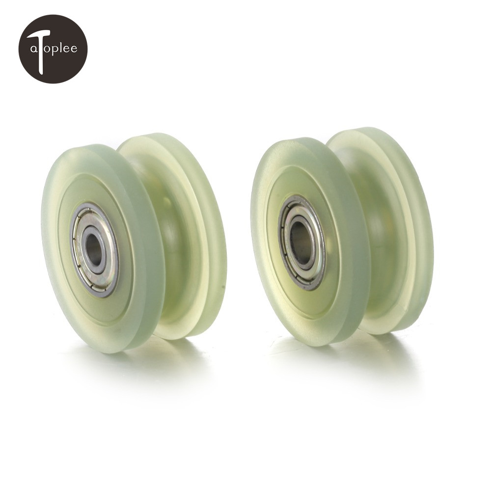 1PC PU U-shaped Rubber Pulley Bearing 6/8mm Inner Diameter Bearing Steel Roller Wheels Door Mechanical Parts multifunctional professional handle pulley roller gear outdoor rock climbing tyrolean traverse crossing weight carriage fit