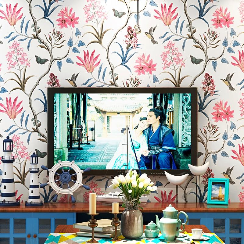 American country wallpaper small fresh garden flowers and birds bedroom living room restaurant Mediterranean style TV background