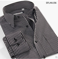 100% Cotton Stripe Long Sleeve Camisa Masculina Casual Dress shirts New Fashion Brand Imported Clothing Asia Size XS 6XL