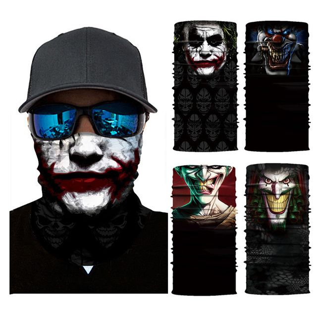 Cycling Headscarf 3D Printing Skull Face Mask Scarf Ghost Dust-proof Snowboard Neck Warmer Face Shield Balaclava Bandana AC0243