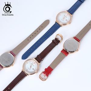 Image 2 - ORSA JEWELS Luxury Women Wrist Watch Bracelet Waterproof Ladies Quartz Watches Real Leather Crystal Stone Watchband Reloj OOW07