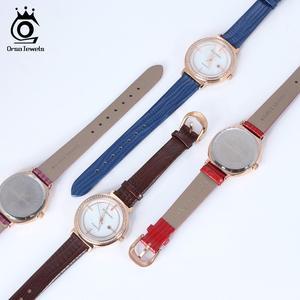 Image 2 - ORSA klejnoty luksusowe kobiety na rękę bransoletka do zegarka wodoodporny panie kwarcowy zegarki z prawdziwej skóry kryształ kamień pasek do zegarka Reloj OOW07
