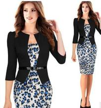 Womens Elegant Faux Twinset Belted Tartan Floral Lace Patchwork Wear to Work Business Pencil Sheath Bodycon