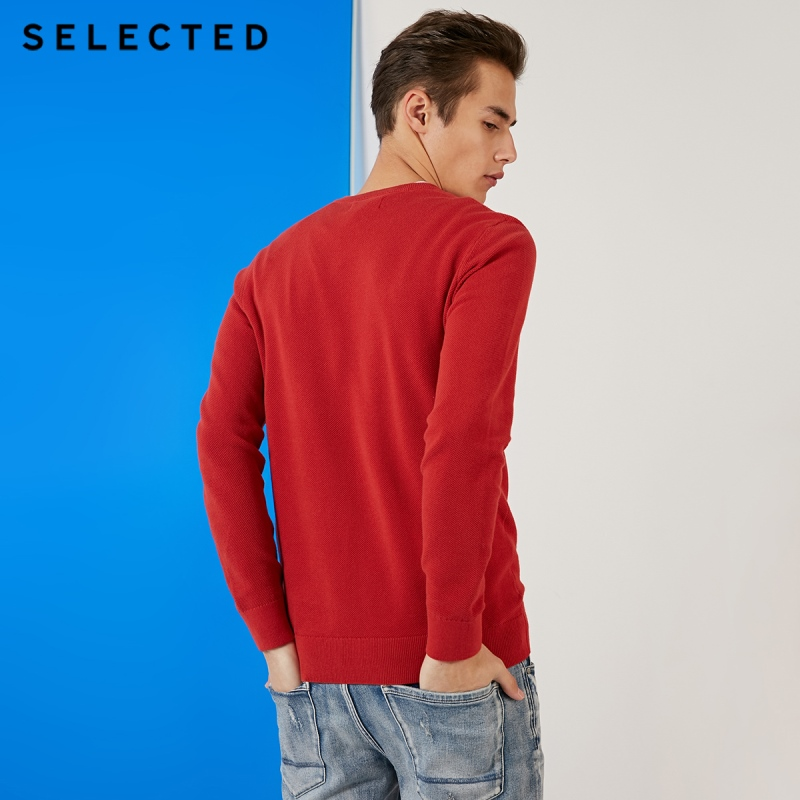 SELECTED 100% Cotton Round Neckline Sweater Men's Long-sleeved Pullover Knit Clothes S | 419124548