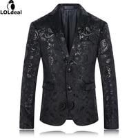 Black Blazer Men Paisley Floral Pattern Wedding Suit Jacket Slim Fit Stylish Costumes Stage Wear For