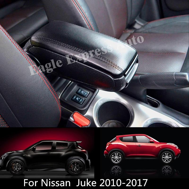 For Nissan Juke 2010-2018 Leather PU Armrest Box Central Storage Content Box Interior Armrest Storage Center Console Box