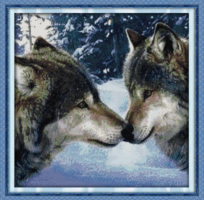 Вышивка крестом волки большой размер