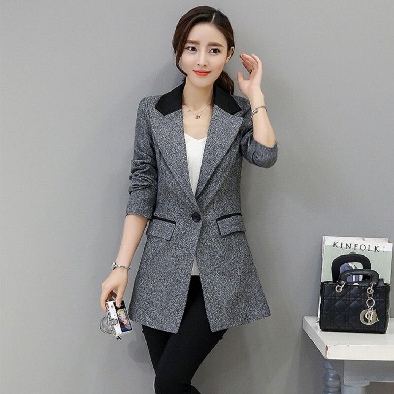 Nuevo 2019 chaquetas grises de Mujer Chaquetas de retazos