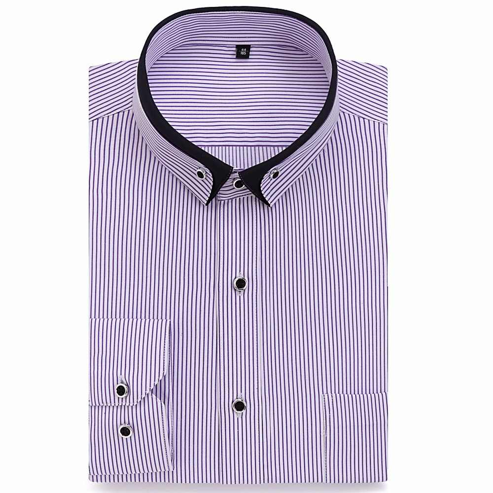 Camisa de manga larga de algodón de manga larga para hombre suave y alimentaria camisa de oficina sólida ajustada para hombre homme 2017