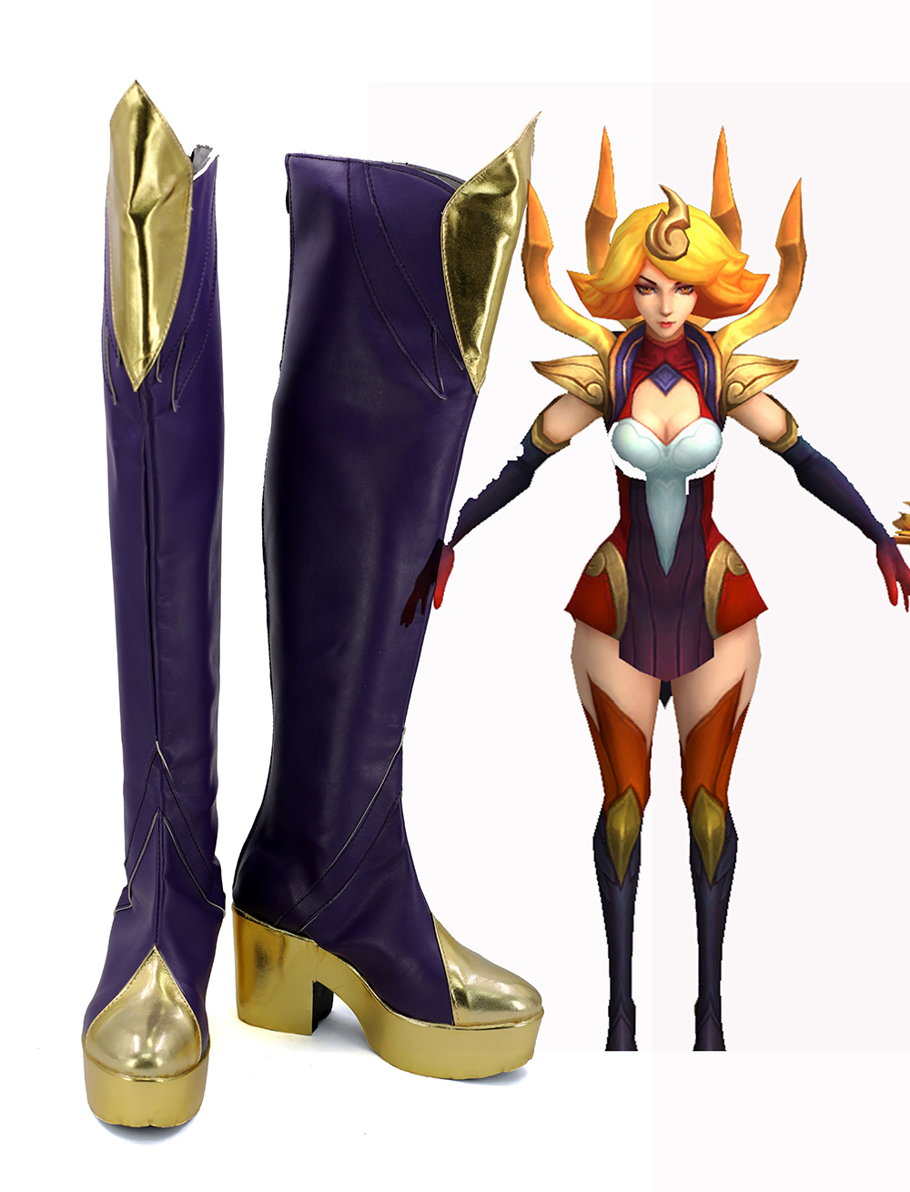 LOL Lux Fire Original os Cosplay bottes chaussures sur mesure toute taille