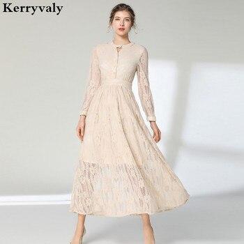 1d886c8c3 Primavera color crema hueco-hacia fuera de encaje vestido Vestidos de  Invierno 2019 manga larga Beige Midi pista vestido de fiesta Vestidos k3892
