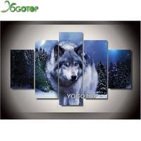 YOGOTOP 5D DIY Diamond Painting Cross Stitch Wolf 5pcs Set Needlework Square Diamond Embroidery Full Diamond
