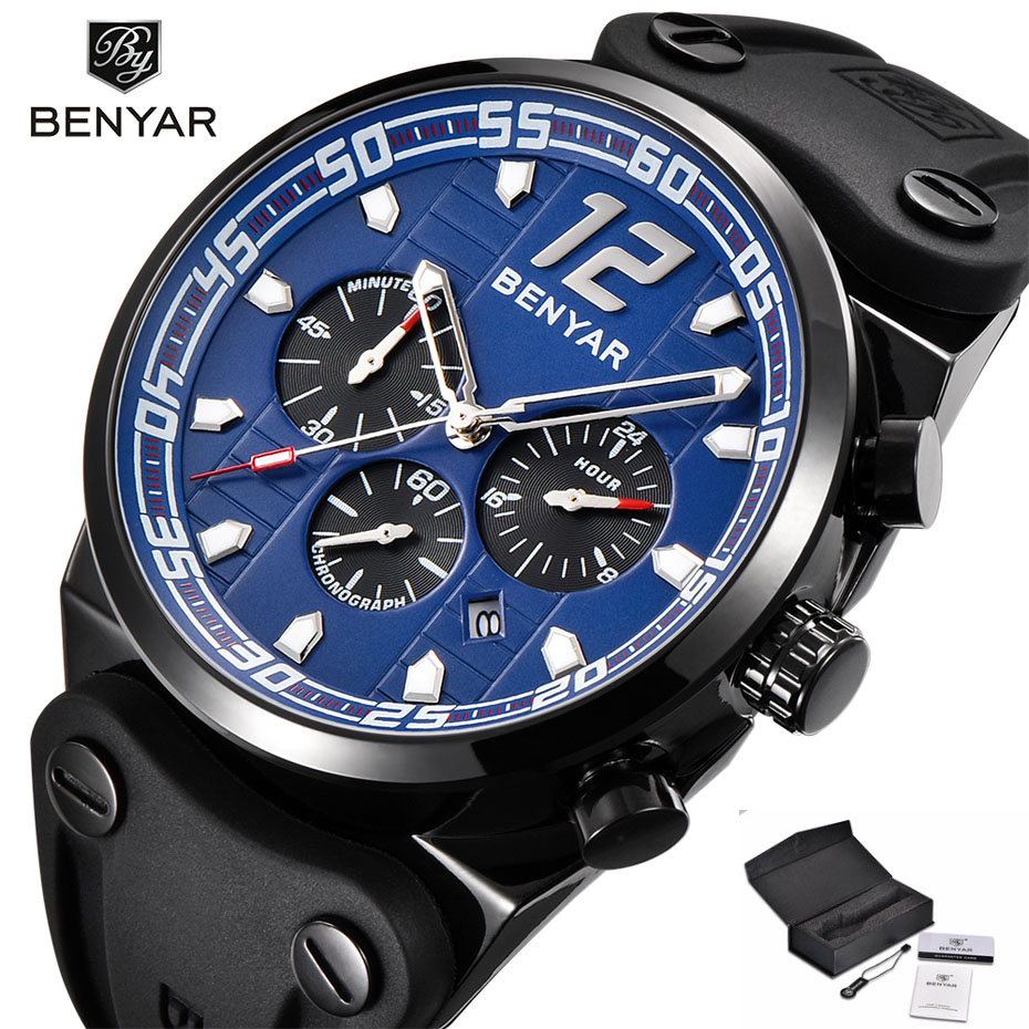 BENYAR Functional Chronograph Waterproof Quartz Watches for Men Military Sport Silicone Band Outdoor Men Wristwatch Clock Gifts