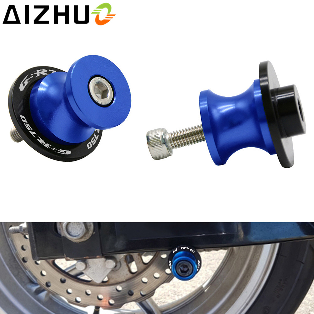For Suzuki GSR 750 GSR750 8mm Motorcycle Swingarm Slider Spools CNC Aluminum 8 Color GSR750 LOGO Motor Accessory Stand Screws