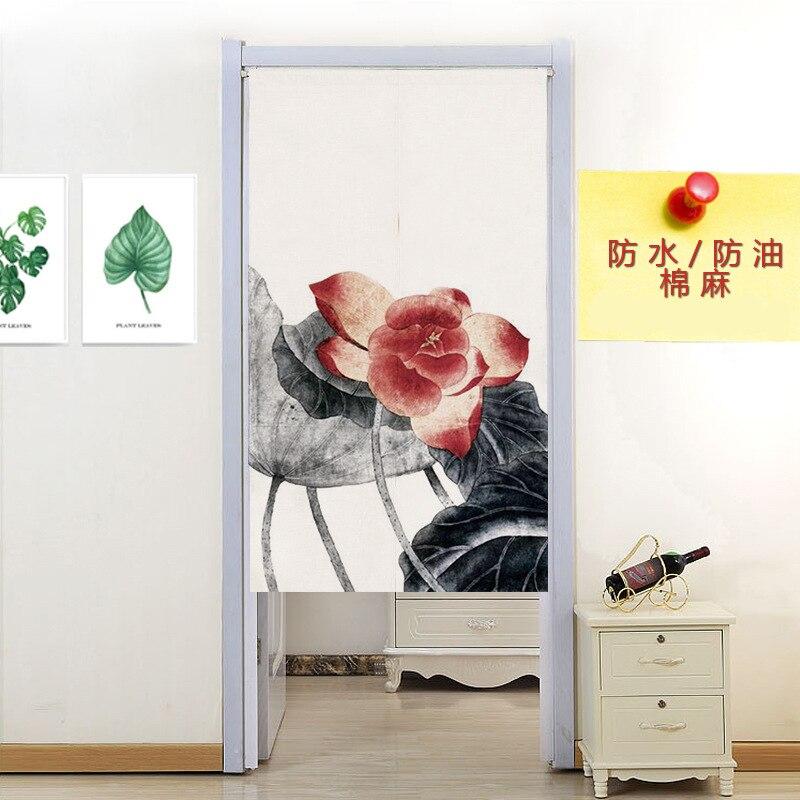 Chinese bamboo door curtain linen two craps Home Restaurant Door Curtain Noren Doorway Room Divider
