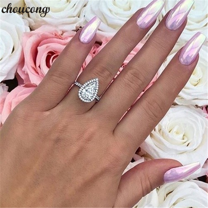 Choucong Water Drop Promise Ring 925 Sterling Silver 3ct AAAAA Zircon Cz Engagement Wedding Band Rings For Women Jewelry Gift