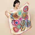 New Arrival 2017 Bronzing Crepe Satin Women Square Silk Scarves Fashion Print Scarf Shawls Big Size 85cm*85cm Pashmina Sc049