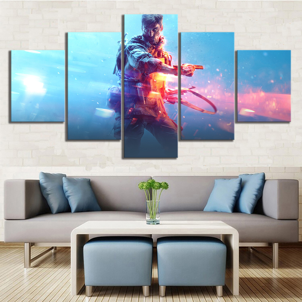 5 Piece 5 Piece Video Game Battlefield 5 Poster Fantasy Art Decorative Painting for Living Room Wall Decor