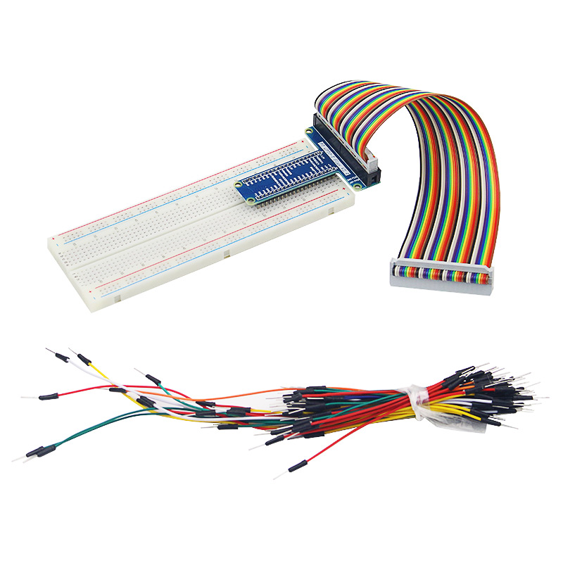 Raspberry Pi GPIO Kit MB-102 Breadboard+ GPIO Expension Board+ 40 Pin GPIO Cable Adapter +65 Pcs Breadboard Jumper Wires Cable