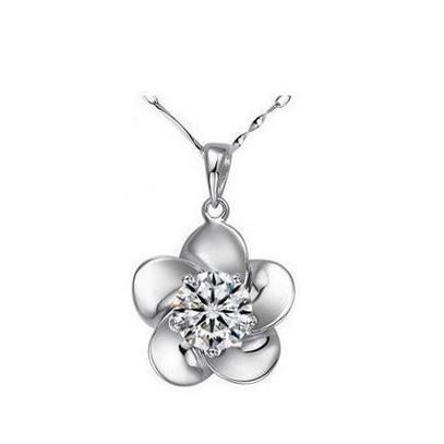 2016 fashion plum flower design big shiny zircon 925 sterling silver ladies pendant flower necklace jewelry