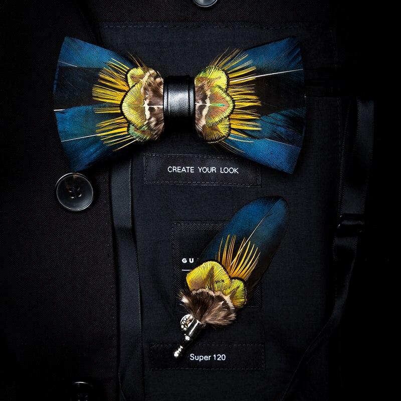 New Brand XGVOKH Men Bow tie Feather wedding fashion Necktie shirt Accessories