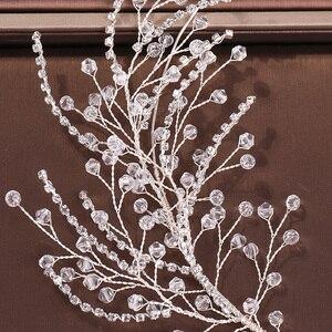 Image 5 - Diademas de diamantes de imitación de cristal para mujer, accesorios para el cabello de boda hechos a mano, Color plateado