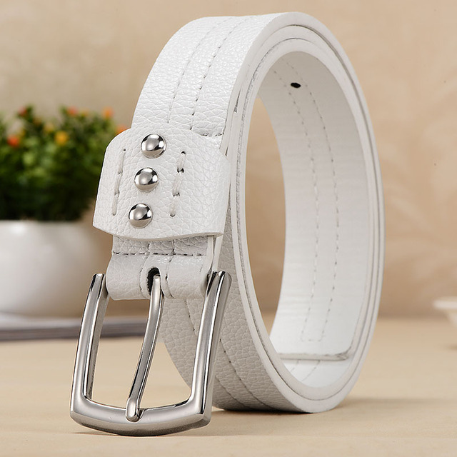 Fashion decoration women's white all-match belt belt for women brand designer belt metal buckle leather dress belt