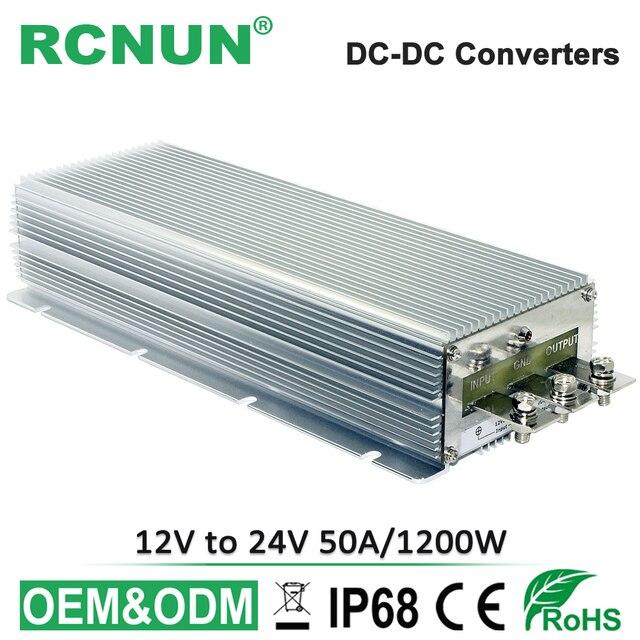 12 в-24 в 50A повышающий dc-dc Преобразователь мощности 12 вольт до 24 вольт 1200 Вт регулятор напряжения водонепроницаемый модуль увеличения