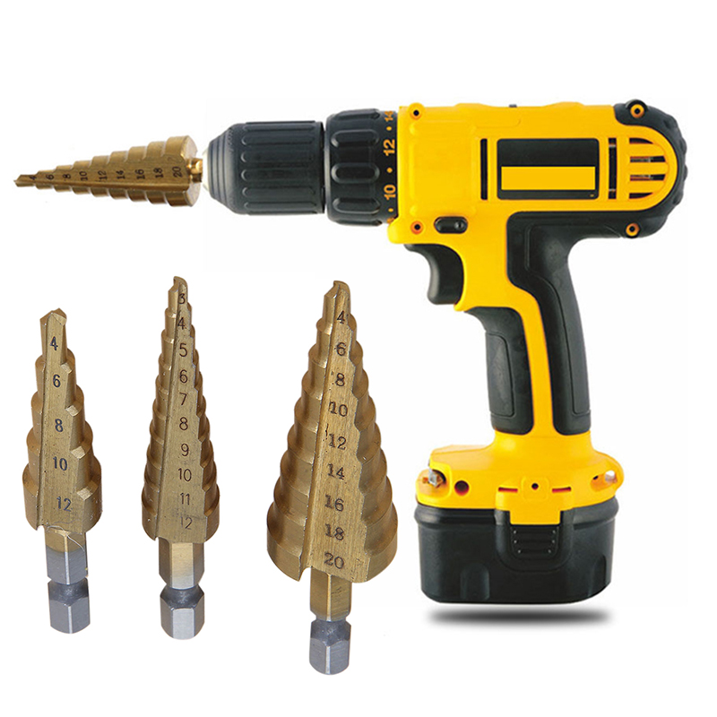 3pcs/set HSS Step Cone Drill Bits Set Titanium Coated Hole Cutter 3-12/4-12/4-20mm For WWoodworking Tools 3pcs set metric spiral flute step hss steel 4241 cone titanium coated drill bits tool set hole cutter 4 12 20 32mm