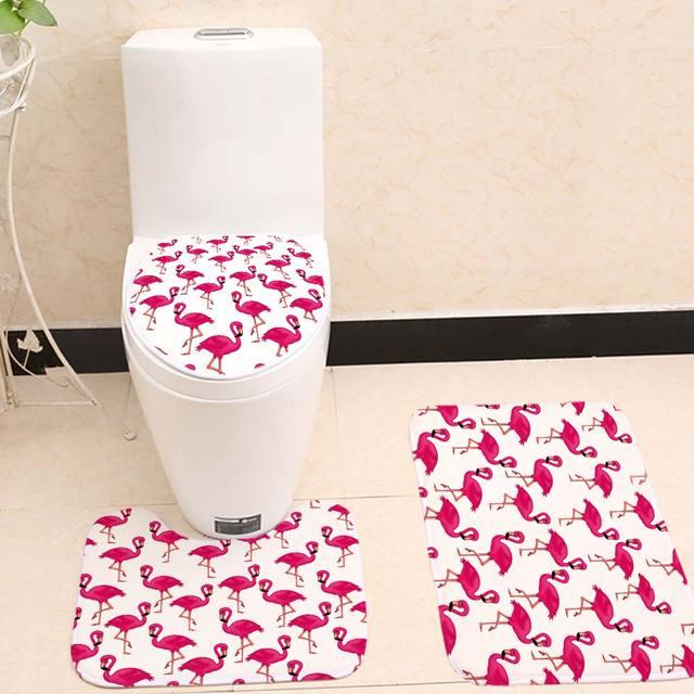 Miracille Pink Flamingo Modello 3 Pezzi Set Da Bagno Toilet Seat Cover a forma di U Accessori Piccolo Tappeto Da Bagno Tappeto di Corallo del panno morbido