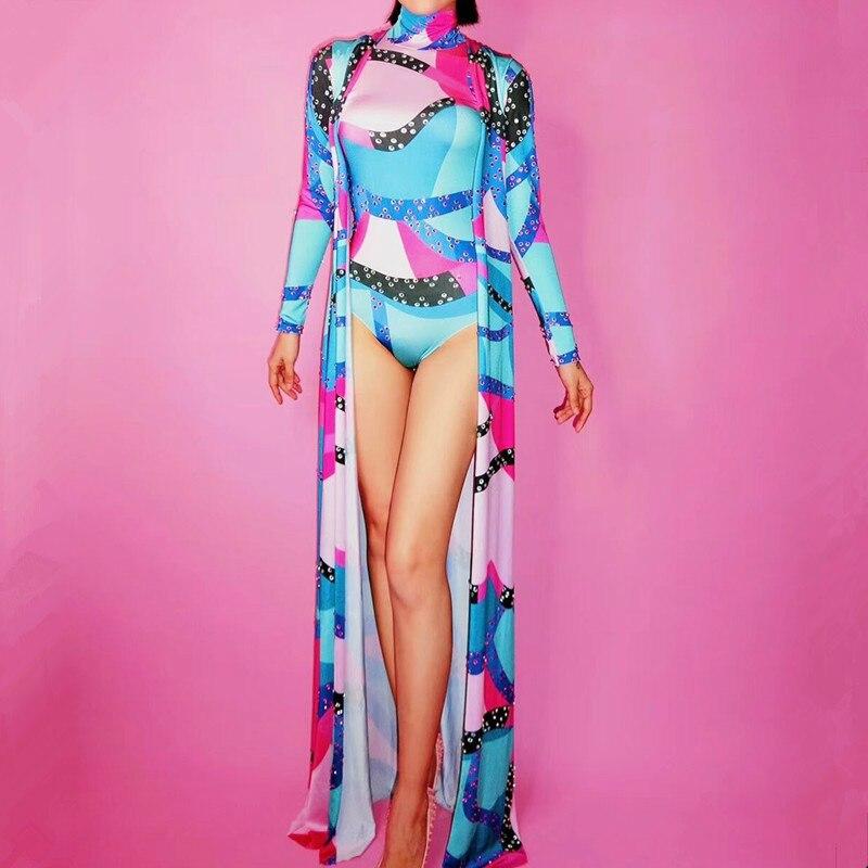 Veste Luxueux Couleur Vêtements Cristaux Danse Scène Équipement De Ensemble Body Longue Mode Brillant Performance Costume Partie OqxgtCwq