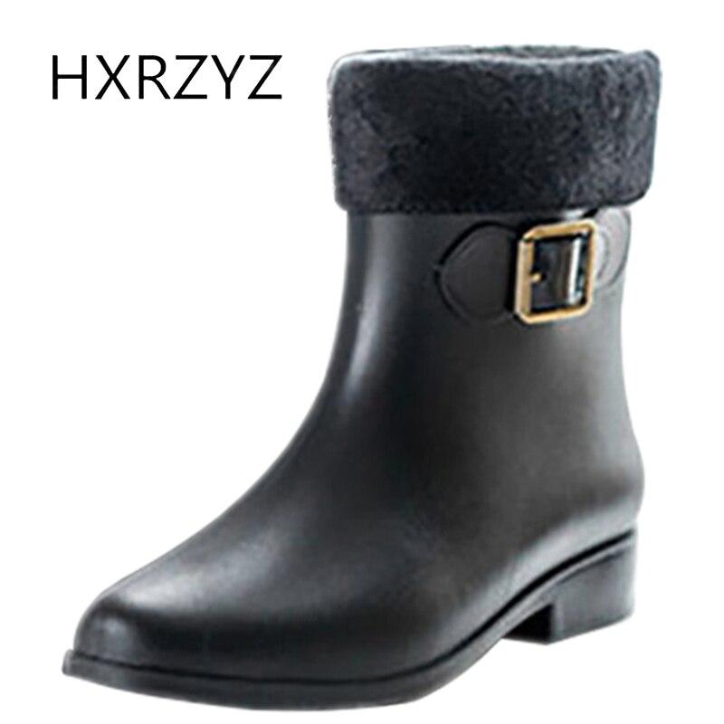 HXRZYZ women rubber boots autumn ankle rain boots ladies plus cotton new fashion non-slip beige and black women's buckle shoes fashion boutique beige rubber soft front insole for ladies fit any shoes