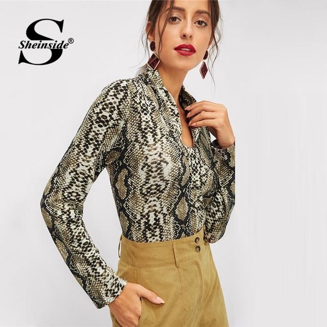 11ab576fc82 Sheinside Long Sleeve Women Tee Shirt Fashion Office Ladies V Neck Snake  Skin Print Tops 2018 Autumn Elegant Womens Slim T Shirt