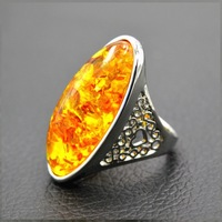 Baltic Ambers Rings for Unisex Stunning Genuine Natural beeswax Stone Trendy Antique Silver Jewelry Punk Wedding Rings