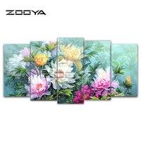 ZOOYA 5D DIY Diamond Embroidery Beautiful Peony Flower 5pcs Combination Diamond Painting Cross Stitch Rhinestone Decor