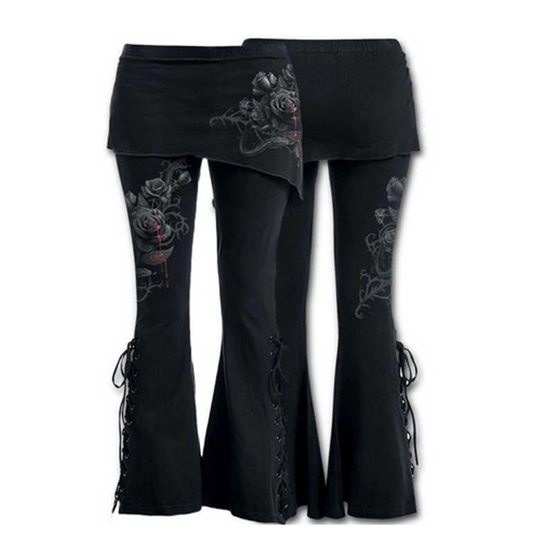 2017 החדש Hippie מתרחבים ארוך מכנסיים תחתון פעמון רגל רחב מותניים גבוהים בתוספת גודל 3 סגנונות