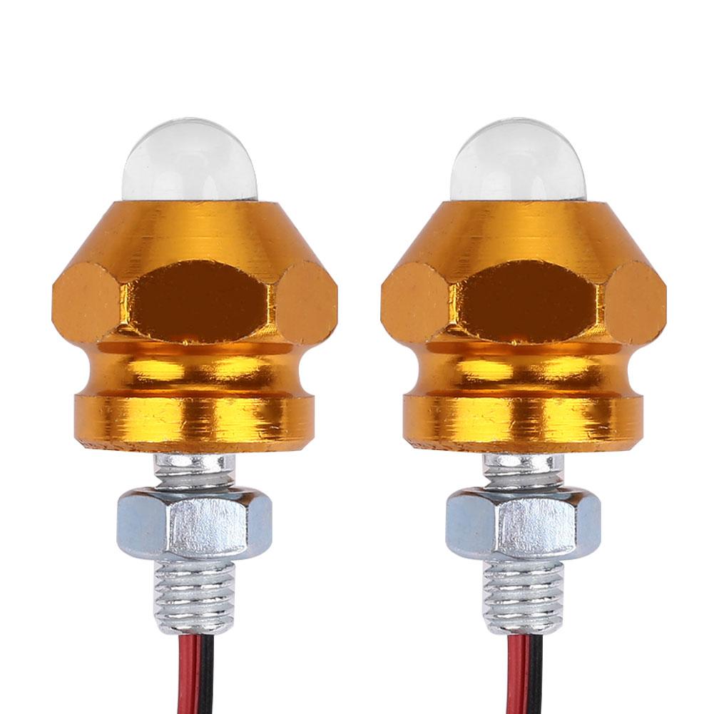 Vehemo 2 шт. индикатор номерные знаки Предупреждение мотоциклов штифт светильника свет прочный сигнальные лампы супер яркие мотоциклы - Цвет: gold