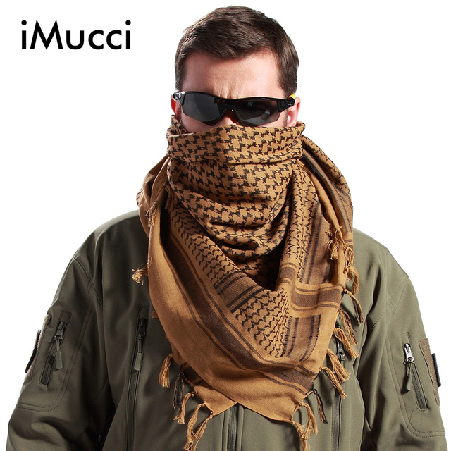 iMucci Men Winter Military Windproof Scarf Muslim Hijab Shemagh Tactical Shawl Arabic Keffiyeh 100% Cotton Fashion Women Scarves