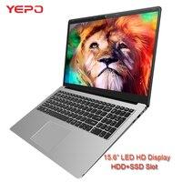 YEPO ноутбука 15,6 ''Intel Apollo 4 ядра ультра тонкий Игровые ноутбуки Тетрадь с светодиодный FHD Экран 6 г Оперативная память ультрабук с HDD SSD