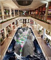 3d картина этаж обои 3D Valley Клифф водопад лотоса карп пол в ванной комнате ПВХ самоклеющаяся обои 3d полы