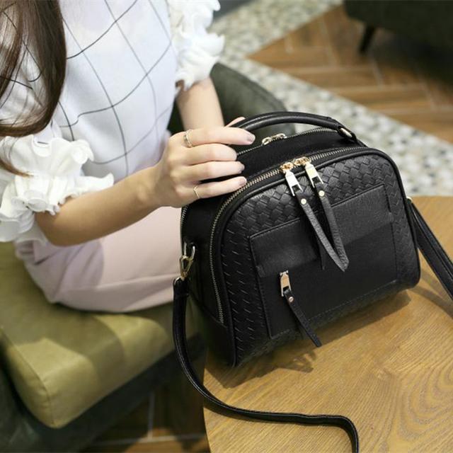 Tinkin New Arrival Knitting Women Handbag Fashion  Weave Shoulder Bag Small Casual Cross Body Bag Retro Totes