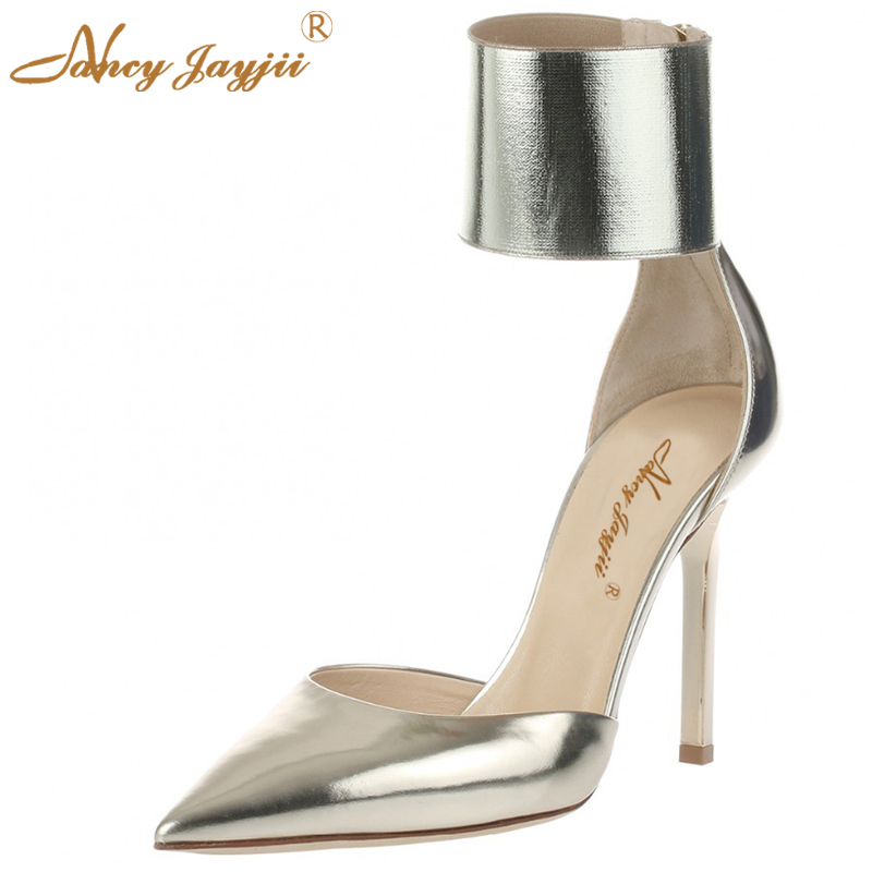 ФОТО Nancyjayjii Fashion Women S ummer Gold Pleather Pointed Toe High Heels Basic Casual Party Pumps With Zip Shoes Plus size 33