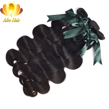 Ali Afee Hair Brazilian Body Wave Remy Human Hair Weave Bundles Natural Black Hair Extension 1 Piece  8-28 Inches Free Shipping