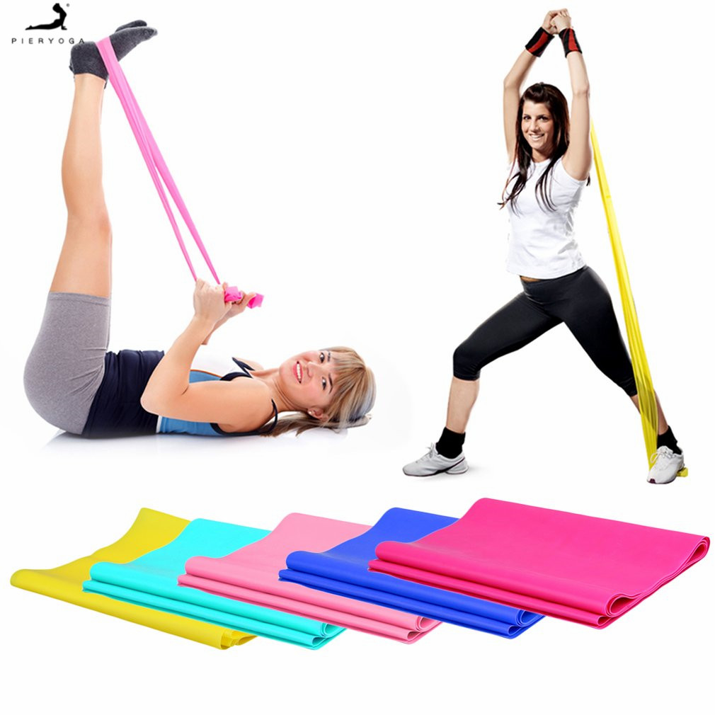 PIERYOGA 1.2m Elastic Yoga Pilates Rubber Stretch Exercise Band Arm Back Leg Fitness All thickness 0.35mm same resistance