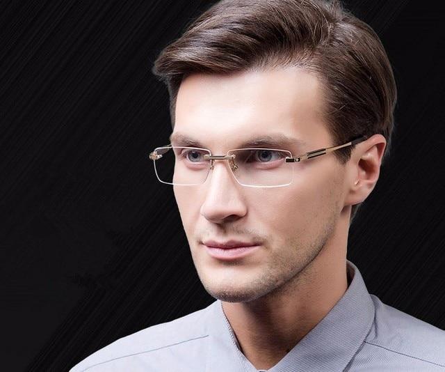 c84f01f21b2 Free shipping Rimless Glasses Wide Spectacle Men Square eyeglasses frames  reading glasses prescription lens optical frame M0349