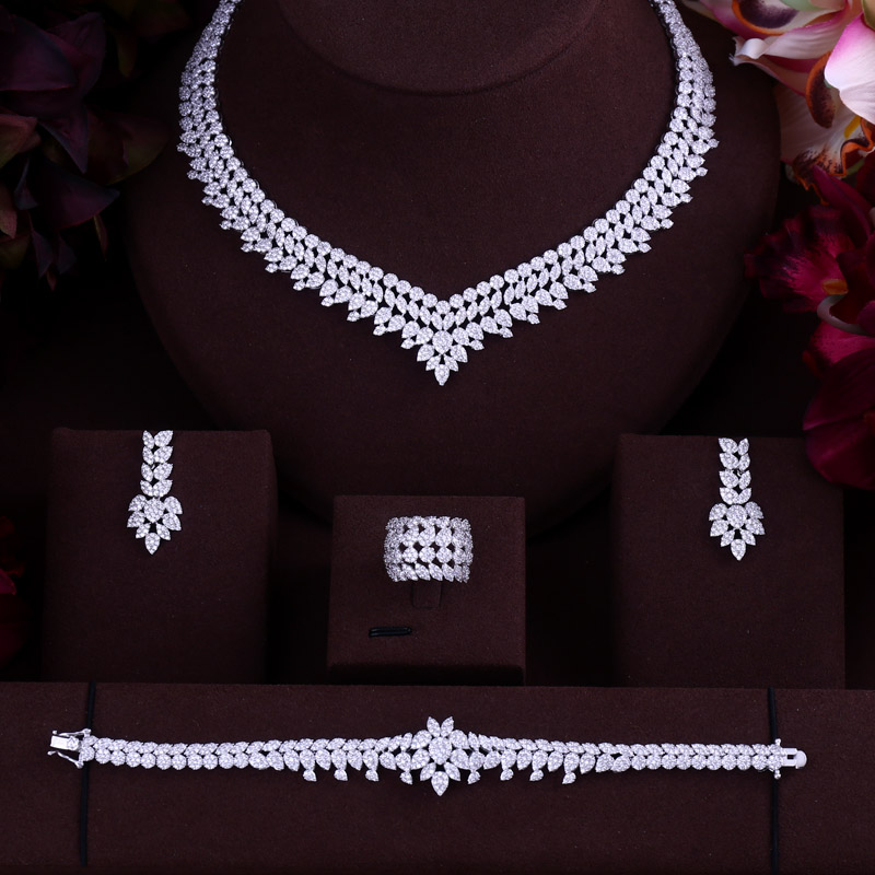 Luxury Women Jewels Elegant Shape Bridal CZ Necklace Earrings Bracelet Ring 4pcs  Big Wedding Jewelry Sets For Bride